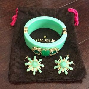 Kate Spade jewel cuff bracelet + bonus earrings